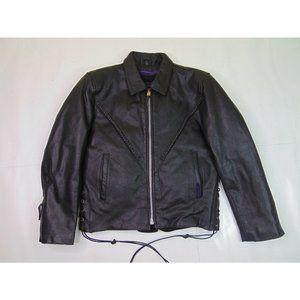 Interstate Women S Leather Jacket Full Zip Punk Perfecto Motorcycle Black Biker